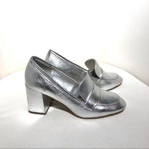 Aldo metallic loafer shoes